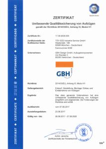 TÜV Zertifikat für Glasaufzüge